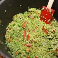 Add in rice, heat it up.