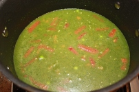 Add in broth, bright green and smells amazing.